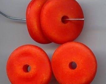 18 Vintage Orange Matte Wash Acrylic 7x24mm. Nugget Disc Beads 5720