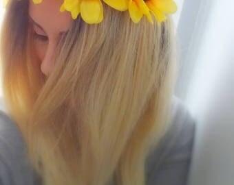 Sunflower Crown, Flower Crown, Floral Crown, Flower Headband
