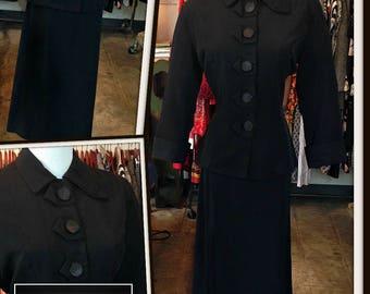 Vintage Black Jacket Skirt Set Suit 1940s FREE SHIPPING