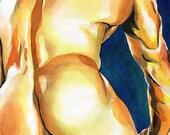 """PRINT of Original Art Work Watercolor Painting Gay Male Nude """"Tenderness"""""""