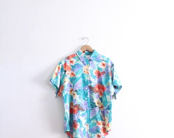 Bright Tropical Floral 90s Blouse