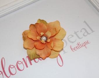 Orange Vintage Flower Clip