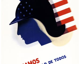 """Vintage Poster Print """"Luchamos Por La Libertad De Todos"""" (""""We fight for the freedom of all"""")"""