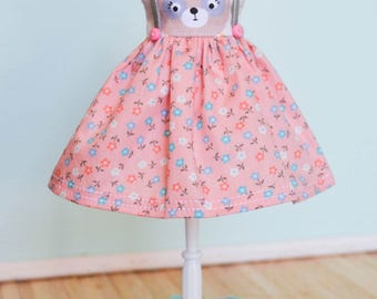 Handmade Blythe Doll Dress with Decorative Suspenders - Grumpy Girl Bear with Floral Skirt