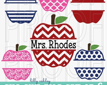 Teacher SVG Files Fall Apple SVG Set includes 6 cut files {SVG/png/jpg} Great for diy teacher gift, just fill in teacher name or Fall phrase
