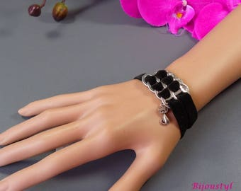 Fancy Capsule cans - black velvet Ribbon - cat charm bracelet