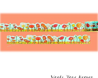 "Die-Cut ""Poppies"" Japanese Washi Tape - 20mm x 5m - Poppy Fields and Blue Sky - Red Orange Yellow"