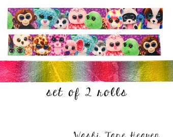 NEW 2 rolls - TY Beanie Boos Washi Tape Set - Characters and Rainbow Foil - 3 yards each - Kids Craft Supply Birthday Planners Decoration