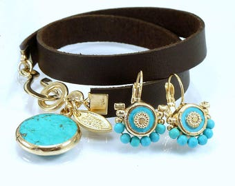 Leather Wrap Bracelet, Turquoise and Leather Bracelet, Boho Wrap Bracelet December Birthstone, Womans Leather Wrap Bracelet,By Inbal Mishan.