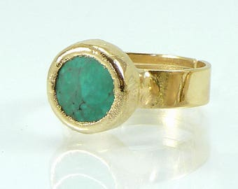 Turquoise Ring, Stacking Turquoise Ring, 24K Gold Plated Gemstones Ring  Adjustable Delicate Ring, December Birthstone.