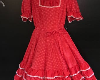 Red Dot Square Dance Dress