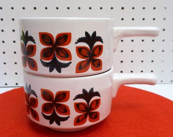 Set of two vintage Staffordshire handled soup bowls