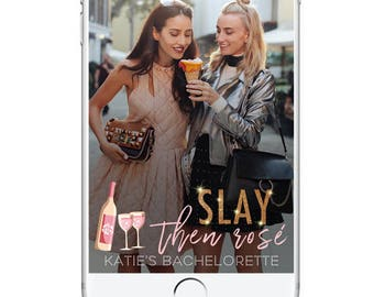 Classy Bachelorette Snapchat Geofilter, Birthday Party Geofilter, Champagne Rose Drinks Cute Bachelorette Filter, Fancy Simple Birthday