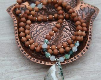 Ocean Jasper Sandalwood Mala - One of a kind  - Mediation Inspired Yoga Beads BOHO chic // Mala Beads