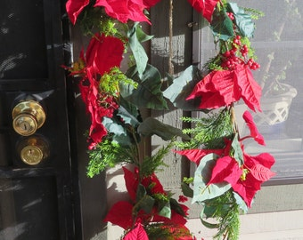 Red poinsettia garland,6 ft ea,large velvet petaled flowers w faux cedar & berries,silk leaves,Christmas Garland