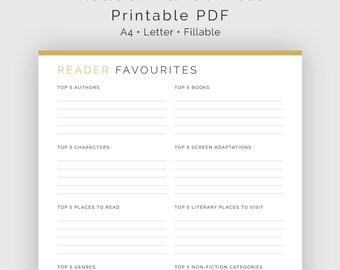 Reader Favourites List - Fillable - Printable PDF - Readers Kit, Book Lovers Bundle - Instant Download