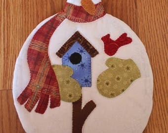 Snoman Pot Holder, Winter Decor, Christmas Pot Holder, Christmas Hot Pad