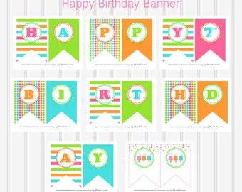 Ice Cream Happy Birthday Banner/Ice Cream Banner/Ice Cream Birthday Party/Popsicle Theme Birthday Party/Printable Banner/Ice Cream Birthday