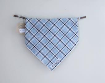 DOG BANDANA Light blue plaid - light weight woven fabric