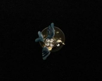 Vintage Miniature Blue Bird Enamel Pin with Rhinestones   (JT2)