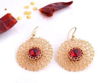 Lace Earrings,Gold Circle Earrings, Round Earrings,Red Statement Earrings,Red Crystal Jewelry,Geometric,14K Gold Filled,Swarovski Earrings,