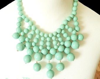 Seafoam Green Mint Statement Necklace - Bib Bubble Statement Mint Green Statement Necklace - Necklace - Big Bold Chunky Bib necklace!