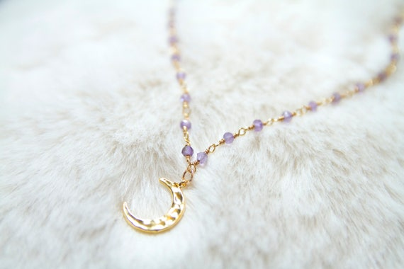 The Malibu Moon Necklace- Gold crescent Moon necklace. Crescent moon charm choker.