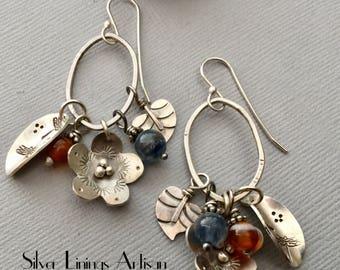 Flower Earrings, Oval Hoop Earrings, Sterling Silver Hand Cut Heart Leaves, Dangles, Artisan Earrings, Dragonfly, Carnelian, Kyanite