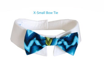 Blue and Green Chevron Bow Tie, Necktie, or Bow on a Shirt Style Collar for both Dogs & Cats