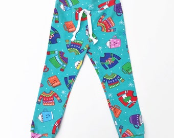 Winter Wonderland Pants, baby leggings, toddler leggings, toddler harems, baby harems, ugly sweater, hot cocoa, hipster baby clothes