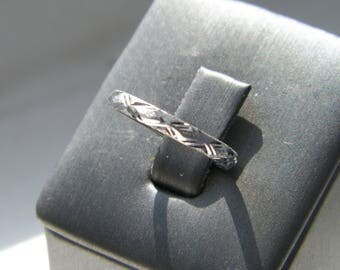 Hand Made.925 Sterling Silver Wedding Band Ring Satin and Diamond Cut Finish-Choose Size