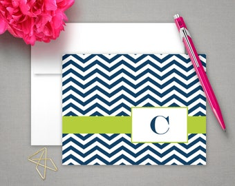 Monogram Folded Note Cards | Note Stationery | Monogrammed Notecards & Envelopes | Personal Stationary Sets | CHEVRON INITIAL