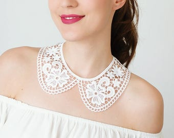 Lace Collar White Collar Vintage Collar Peter Pan Collar Statement Necklace Gift For Her Birthday Gift Sister Gift Bridal Collar / MRENA