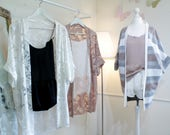 Stripe Kimono Cardigan / Rose Kimono / Summer Kimono / Loungewear / Floral Kimono / Kimono Jacket / Grey Kimono / Blush and White Kimono