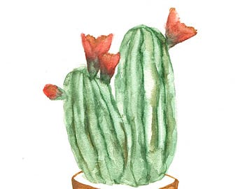 Original 4 x 4 inch watercolor potted plant by Meredith O'Neal