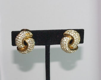 Christian Dior Clip On Earrings - Gold Tone with Crystals - S2423