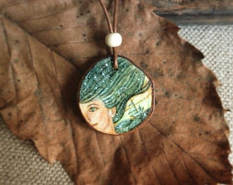 Hand painted Wooden Pendant - Siren & Sailor