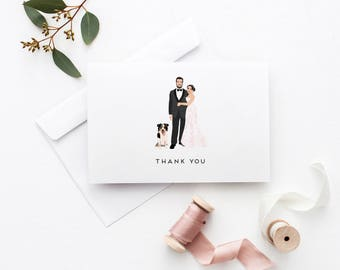 Wedding Thank You Cards - Custom Thank You Cards - Wedding Portrait Thank you Card set - The Penny Thank You Cards - DESIGN FEE