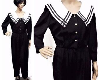Vintage Jumpsuit/ Women's Size 12P/ 1980's Jumpsuit/ S.L. Fashions/ Women's Jumpsuit/ Sailor Jumpsuit/ Black and White Jumpsuit/ 80's Suit