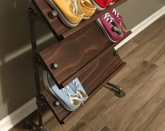 Handmade Reclaimed Wood Angled Shoe Stand / Rack / Organizer with Pipe Stand Legs