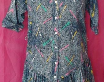 Saved By The Bell, Paint Splatter,Acid Wash Vintage Dress!