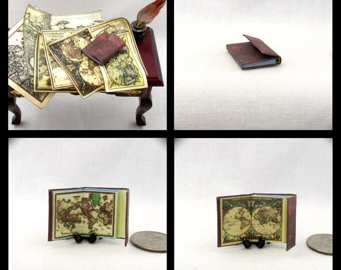 JOURNAL Of ANCIENT MAPS Colorful Illustrated Miniature Book Dollhouse 1:12 Scale Book Charts