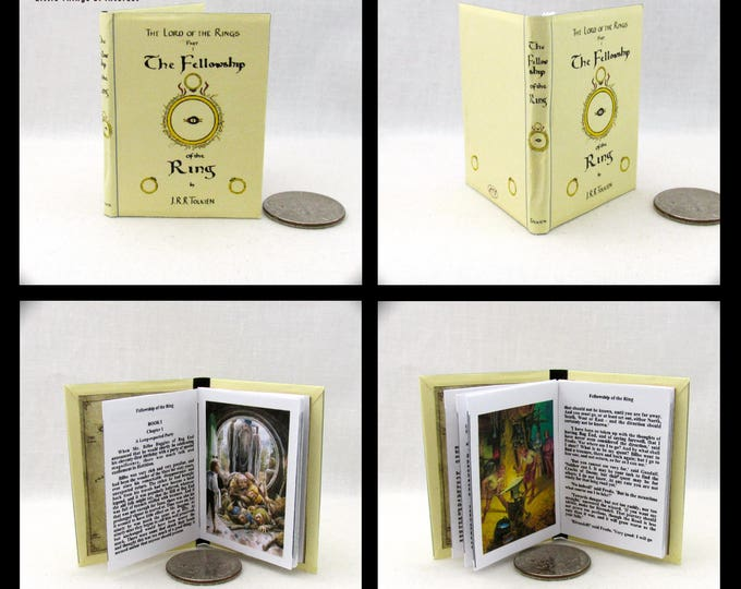 1:6 Scale Miniature Book FELLOWSHIP Of The RING  Illustrated Readable Book J.R.R Tolkien Play Scale Barbie Book 1/6 scale Lord of the Rings