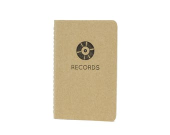 Records Vinyl Lovers Pocket Notebook Letterpressed Moleskine with Gridded, Ruled, or Blank Pages Printed in Cleveland on Antique Presses