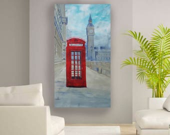 Red telephone box London Palace of Westminster 90x160 cm S051 Large impressionism acrylic painting on unstretched canvas by artist Ksavera