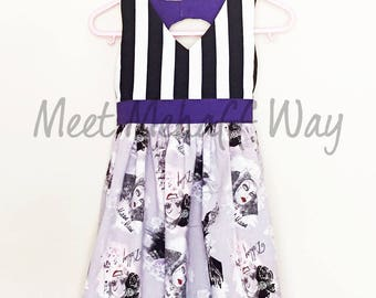 READY-TO-SHIP -- Girls Villain Stripe Dress -- Back Cut-Out Dress -- Size 3T