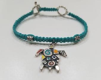 Blue Macrame Bracelet with Reversible Turtle