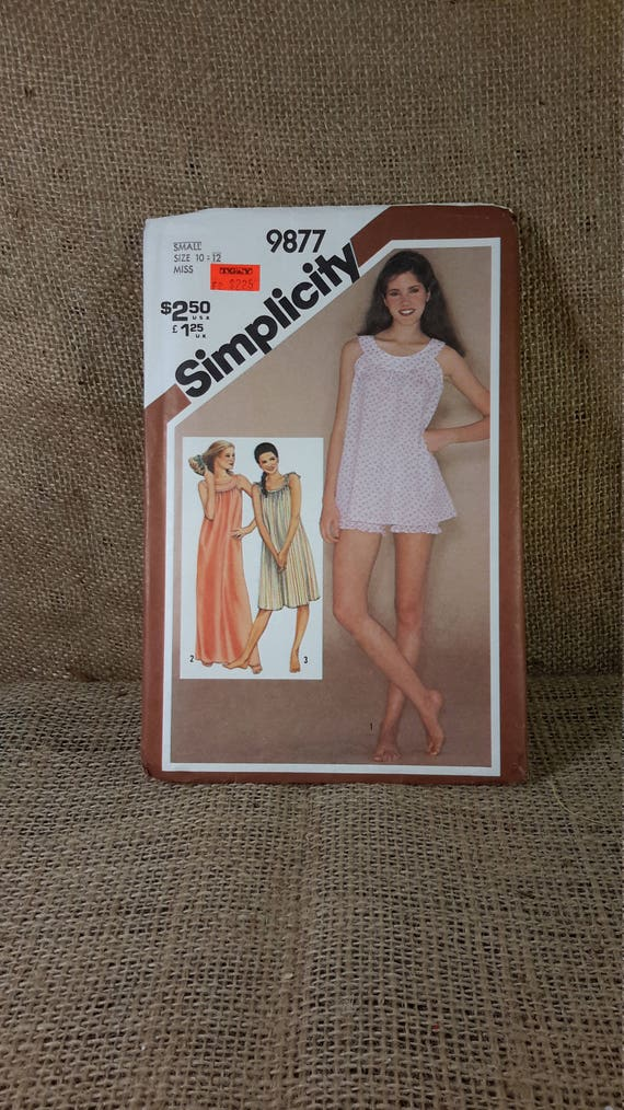 Vintage Simplicity 9877 sewing pattern for 3 styles of night gowns, vintage night gowns, vintage sewing pattern, 2.00 US shipping