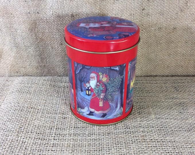 Vintage Christmas tin, Christmas tin, Santa Claus tin, Santa Claus designed tin, collectible tin, holiday tin, old Saint Nick tin,