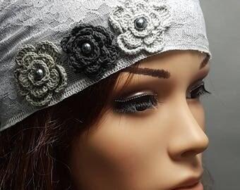Light Gray Tichel , Hair Covering , Head Wrap, Head Scarf , Chemo Cap , Floral Headwear , Snood , Bandana , Headscarves